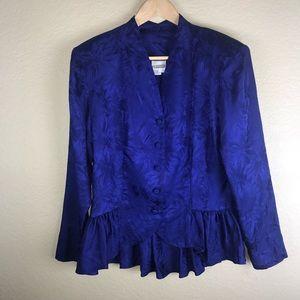 Vintage Royal Blue Jacquard Silk Peplum